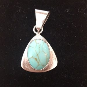 """Silver/Turquoise pendent, 1""""x1"""""""